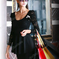 2015 Women Long Sleeve Backless Lace Clubbing Cocktail Party Mini Dress Black