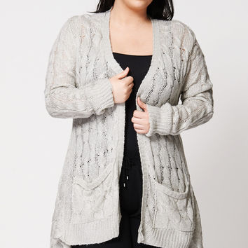 Shop Grey Cable Cardigan on Wanelo