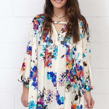 Watercolor Floral Keyhole Tunic {Blue Mix}