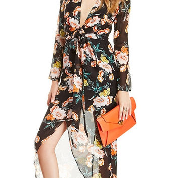 Chiffon V-neck Long Sleeve Floral Maxi Dress