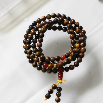 Natural Tibetan Buddhist 6mm Tiger eye  108 beads Mala Necklace Hand Knotted for Meditation