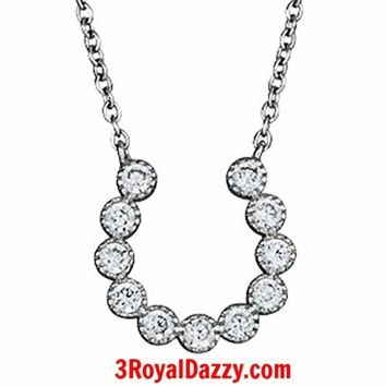 New 14k white Gold layer on Sterling Silver Crystal CZ Horseshoe Charm Necklace