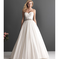 2013 Allure Bridal - White Taffeta Ruched Sweetheart Wedding Gown - Unique Vintage - Prom dresses, retro dresses, retro swimsuits.