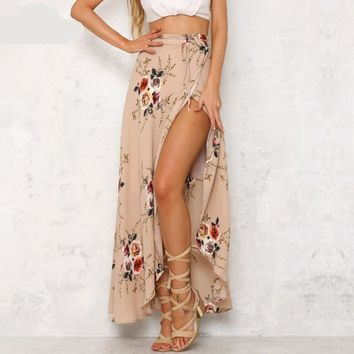 Vintage floral print long skirts women Summer elegant beach maxi skirt high waist asymmetrical wrap skirt