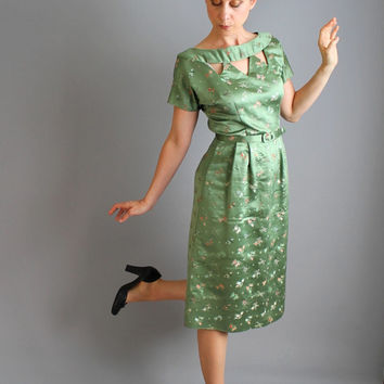1950s Sage Green Floral Satin Wiggle Dress. Cocktail Party. Formal. Holiday Dress. Wedding. Mad Men. Fall Fashion