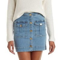 Med Wash Denim Button-Up Denim Mini Skirt by Charlotte Russe