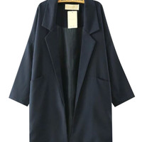 Lapel Collar Long Sleeves Coat With Pockets