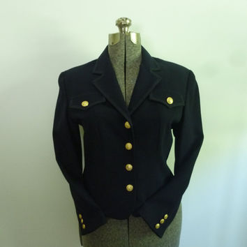 DKNY Military Style Cropped Jacket Navy/Gold by rileybella123