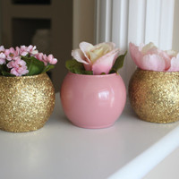 Gold and Pink Wedding Centerpiece, Bridal Party Centerpiece, Engagement Party Centerpiece, Gold Accents, Gold Decor, Baby Shower Decor, Pink