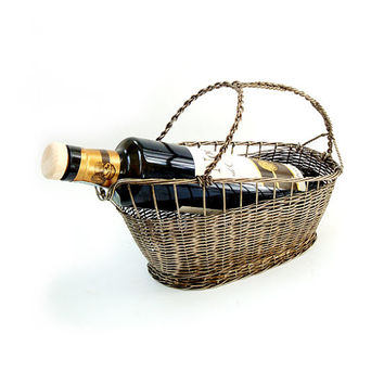 Vintage French Silver Plated Wire Wine Basket, Vintage Woven Wire Wine Basket, Wine Bottle Carrier,Vintage Wine Pourer.