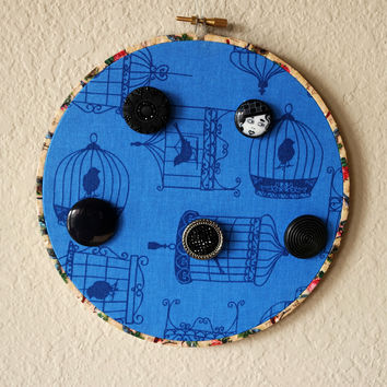 Blue Bird Cage Wood Hoop Necklace And Bracelet 7 Inch Wall Display