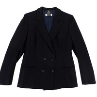 Vintage Double Breasted Women's Dark Navy Blue Wool Flannel Blazer - Jacket, Coat,  Tessuto Cerruti 1881 - Women's Size Small