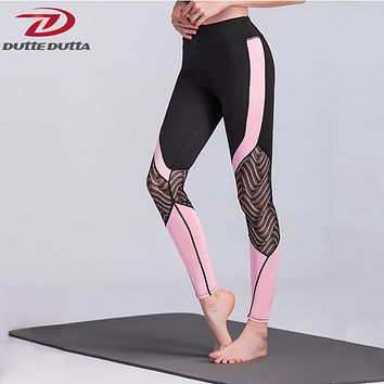 Sexy Yoga Leggings Women Patchwork Lace Fitness Pants Mesh Sport Gym For Female Jogging Legency Athletic Compression Trousers