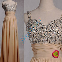 2015 Champagne Beaded Bridesmaid Dresses,Long Chiffon Spaghetti Straps Prom Dresses,2015 Homecoming Dresses,Party Dresses