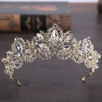 Baroque Luxury Big Rhinestone Bridal Crown Tiaras Light Gold Crystal Diadem Tiara for Bride Headbands Wedding Hair Accessories