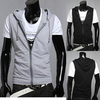 Men's Basic Hoodie Sweatshirt Slim Fit Sport Vests Sleeveless Casual Shirt Tops