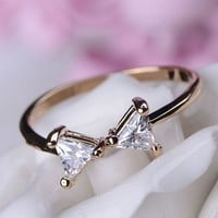 Simply Bow Rhinestone Ring (Thin Band, Adjustable) - LilyFair Jewelry