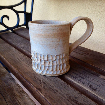 Hand thrown Stoneware Mug Textured Coffee Mug, Earth colors stoneware mug, Vintage Stoneware Coffee Mug