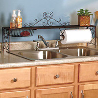 Bronze Color Over The Sink Shelf Storage Organizer Paper Towel Holder Rack New