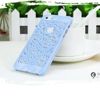 MagicPieces Cut Out Rose Flower Hard Protective Snap On Candy Color Case for iPhone 5 Blue