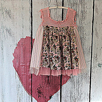 Women's Woodland Fairy Top   Shabby Chic Clothing   Eco Upcycled Clothes   Vintage Crochet   Babydoll Shirt
