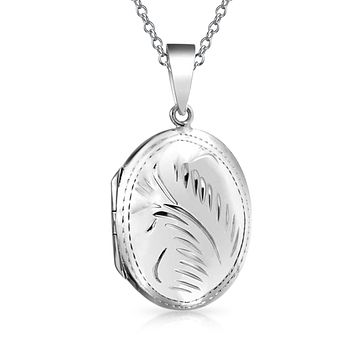 Vintage Style Etched Oval Locket Pendant 925 Sterling Silver Necklace