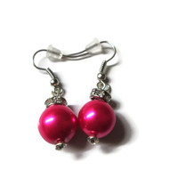Fuchsia Pearl Earrings, Hot Pink, Magenta, Bridal Jewelry, Crystal Accents, Dangle Style