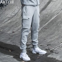 Men Sweatpants Ankle Tied Pants Leg Pockets Full Length Drawstring Pants Knitted Fabric Brand Sweatpants