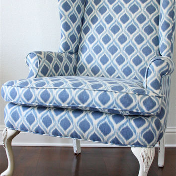 Vintage Ikat Wing Chair