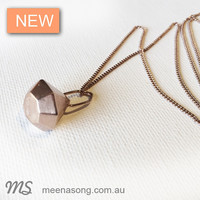 ROSE GOLD FACETED PENDANT LARGE by Meena Song Jewellery