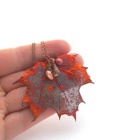 Real Copper Leaf Necklace Freshwater Cranberry Golde Pearl Pendant Necklace Sugar Maple Iridescent Leaf Ginger Necklace Copper Jewelry