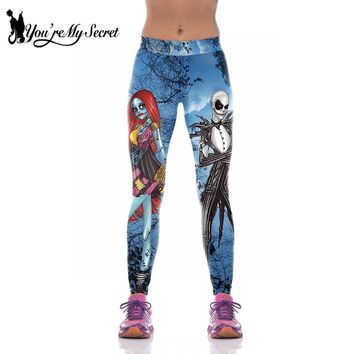 [You're My Secret] Halloween Leggings Women Fashion High Waist The Nightmare Before Christmas Corpse Bride Fitness Ankle Pants