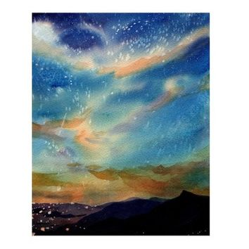 Watercolor Painting, Landscape Painting, Watercolor Art, Watercolor Landscape, Mountains, Sky Painting, Night Sky Watercolor, Art Print