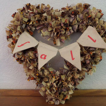 "12"" Heart Shaped Fall Festival Rag Wreath"