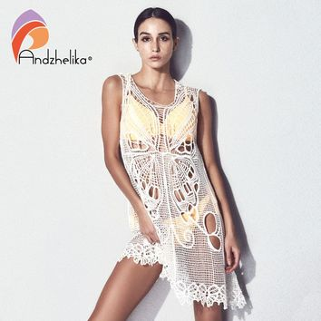Andzhelika Knit Bikini Cover Ups Beachwear 2018 Women Sexy Dress Butterfly Crochet Summer Swimwear Bathing Swimsuit Cover Up