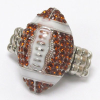 Crystal 'Bling' Football Stretch Ring
