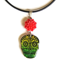Day of the Dead Shrink Plastic Sugar Skull Necklace -You can choose 1 color from 9 colors-