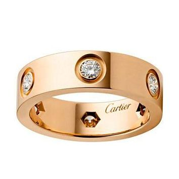Cartier Fashion Couple Fashion Diamonds Plated Personality Ring Rose Gold