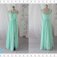Long Mint Chiffon Dress, Mint Bridesmaid Dresses, Sweetheart Long Side Split Evening Dress Sexy, Party Dress, Bridesmaid Dress, Prom Dress