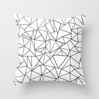 Abstract Outline Black on White Throw Pillow by Project M | Society6