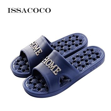 ISSACOCO Men's Indoor Solid Non-slip Massage Slippers Bathroom Home Slippers Fashion Lightweight Beach Slippers Men's Flip Flops