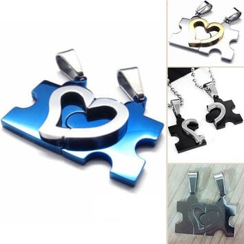 Fashion Stainless SteeL His &Hers Puzzle Love Heart Couple Pendant Necklaces