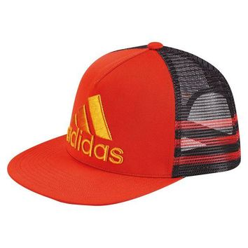 DCCK7BE adidas Men's Retro Snapback Trucker Cap Embroidered Logo Red Black Orange