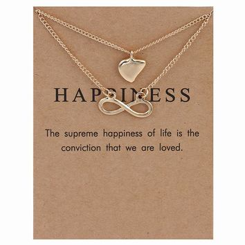 Double Infinite Symbol And Heart Pendant Card Alloy Clavicle Pendant Necklace 171208