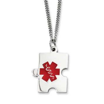 Stainless Steel Puzzle Piece Medical Pendant Necklace SRN904