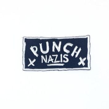 Punch Nazis - embroidered twill punk patch