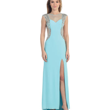 Turquoise Cap Sleeve Sheer High Slit Dress  2015 Prom Dresses
