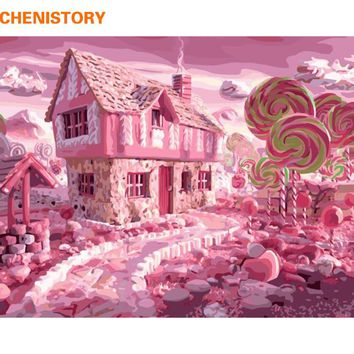 CHENISTORY Frameless Pink House DIY Painting By Numbers Landscape Acrylic Paint By Numbers Modern Wall Art Picture Home Decors