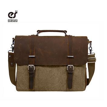 """ECOSUSI Canvas&Leather Men Briefcase Fit for Kindle  Handbag Shoulder Bussiness Notebook OL Bags For 15"""" Laptop iPhone iPAD"""