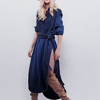 Free People Womens Indigo Herringbone Maxi